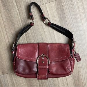 Authentic Coach Red SoHo Buckle Hobo Flap Shoulder